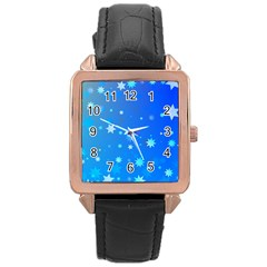 Blue Hot Pattern Blue Star Background Rose Gold Leather Watch