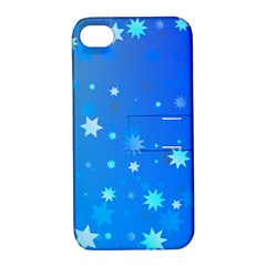 Blue Hot Pattern Blue Star Background Apple Iphone 4/4s Hardshell Case With Stand