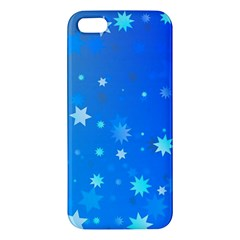 Blue Hot Pattern Blue Star Background Apple Iphone 5 Premium Hardshell Case
