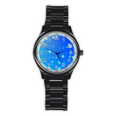 Blue Hot Pattern Blue Star Background Stainless Steel Round Watch