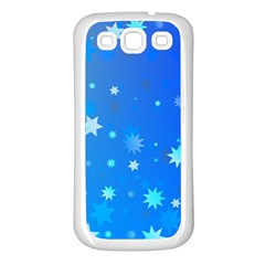 Blue Hot Pattern Blue Star Background Samsung Galaxy S3 Back Case (white)