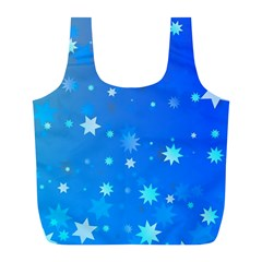 Blue Hot Pattern Blue Star Background Full Print Recycle Bags (l)