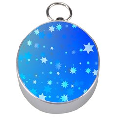 Blue Hot Pattern Blue Star Background Silver Compasses