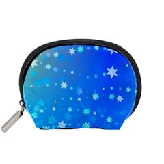 Blue Hot Pattern Blue Star Background Accessory Pouches (small)