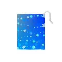 Blue Hot Pattern Blue Star Background Drawstring Pouches (small)