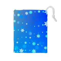 Blue Hot Pattern Blue Star Background Drawstring Pouches (large)