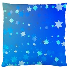 Blue Hot Pattern Blue Star Background Large Flano Cushion Case (one Side)