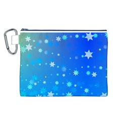 Blue Hot Pattern Blue Star Background Canvas Cosmetic Bag (l)