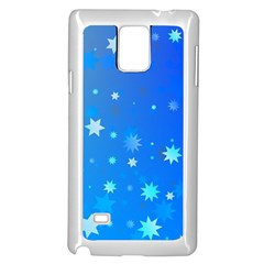 Blue Hot Pattern Blue Star Background Samsung Galaxy Note 4 Case (white)