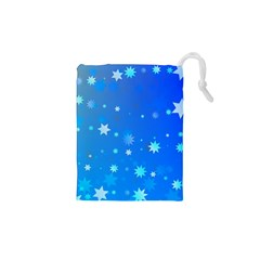 Blue Hot Pattern Blue Star Background Drawstring Pouches (xs)