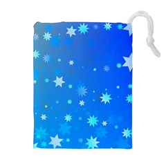 Blue Hot Pattern Blue Star Background Drawstring Pouches (extra Large)