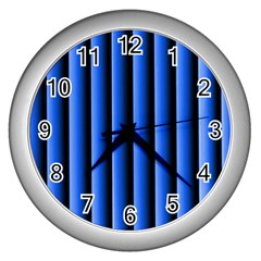 Blue Lines Background Wall Clocks (silver)