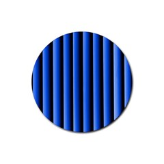 Blue Lines Background Rubber Coaster (Round)