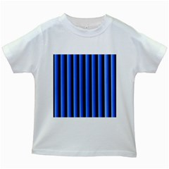 Blue Lines Background Kids White T Shirts