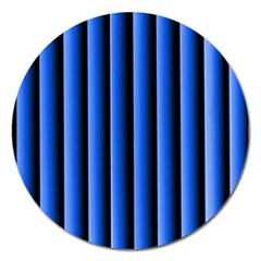 Blue Lines Background Magnet 5  (round)