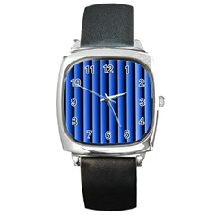 Blue Lines Background Square Metal Watch
