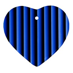 Blue Lines Background Heart Ornament (two Sides)