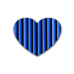 Blue Lines Background Rubber Coaster (heart)
