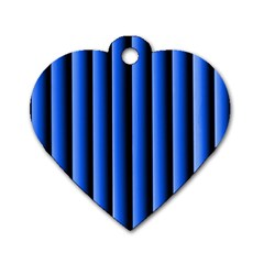 Blue Lines Background Dog Tag Heart (two Sides)