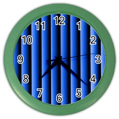 Blue Lines Background Color Wall Clocks