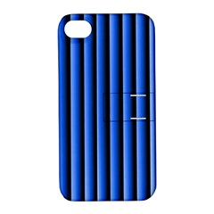 Blue Lines Background Apple Iphone 4/4s Hardshell Case With Stand
