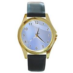 Blue Star Background Round Gold Metal Watch