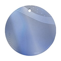 Blue Star Background Round Ornament (two Sides)