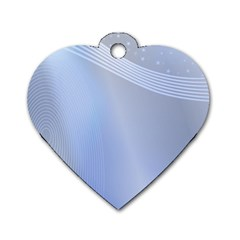 Blue Star Background Dog Tag Heart (one Side)