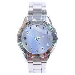 Blue Star Background Stainless Steel Analogue Watch