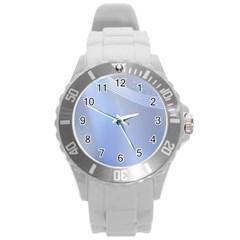 Blue Star Background Round Plastic Sport Watch (l)