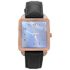 Blue Star Background Rose Gold Leather Watch