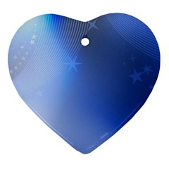 Blue Star Background Ornament (heart)