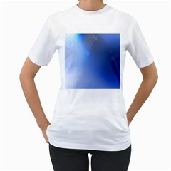 Blue Star Background Women s T-Shirt (White) (Two Sided)