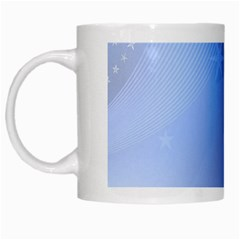 Blue Star Background White Mugs