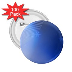 Blue Star Background 2 25  Buttons (100 Pack)