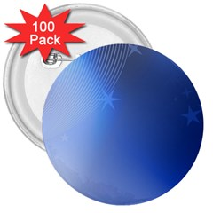 Blue Star Background 3  Buttons (100 Pack)