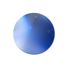 Blue Star Background Magnet 3  (round)