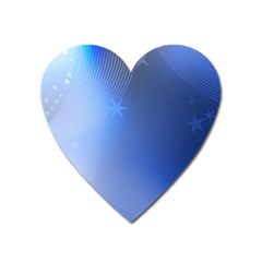 Blue Star Background Heart Magnet