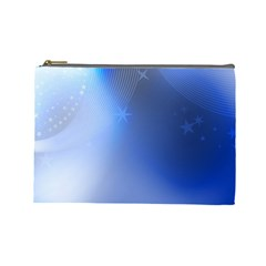 Blue Star Background Cosmetic Bag (Large)