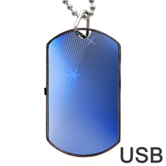 Blue Star Background Dog Tag Usb Flash (two Sides)
