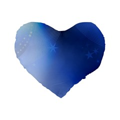 Blue Star Background Standard 16  Premium Heart Shape Cushions