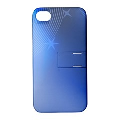 Blue Star Background Apple Iphone 4/4s Hardshell Case With Stand