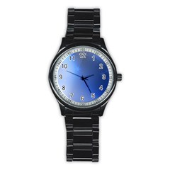Blue Star Background Stainless Steel Round Watch