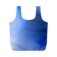 Blue Star Background Full Print Recycle Bags (m)