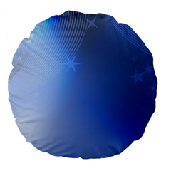 Blue Star Background Large 18  Premium Flano Round Cushions