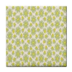 Another Supporting Tulip Flower Floral Yellow Gray Tile Coasters
