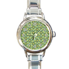 Another Supporting Tulip Flower Floral Yellow Gray Green Round Italian Charm Watch
