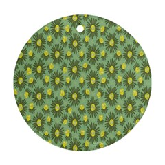 Another Supporting Tulip Flower Floral Yellow Gray Green Ornament (round)
