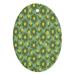 Another Supporting Tulip Flower Floral Yellow Gray Green Ornament (oval)