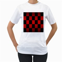 Board Red Black Women s T Shirt (white) (two Sided)
